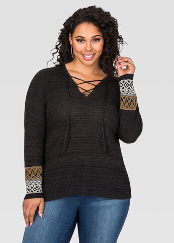 Global Lace-Up Neck Sweater
