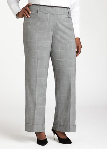 Wide Leg Glen Plaid Trouser