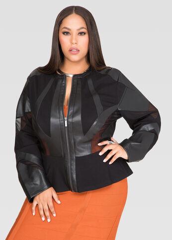 Mesh Faux Leather Peplum Jacket