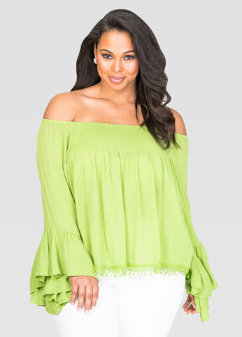 Smocked Off-Shoulder Peasant Top