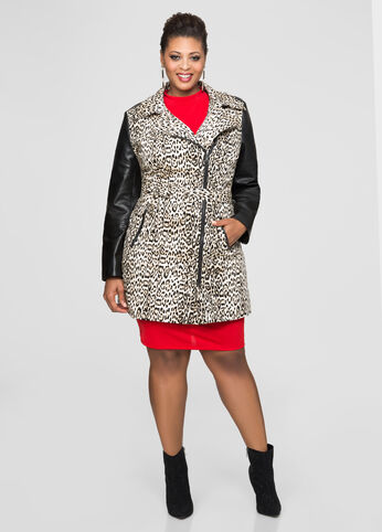 Printed Leather Sleeve Moto Trench Jacket