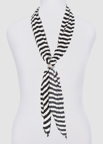 Pleated Striped Skinny Scarf at Ashley Stewart