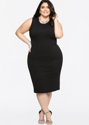 Mesh Detail Sheath Dress