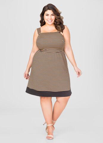 Stone and Black Plus Size Stripe Dress