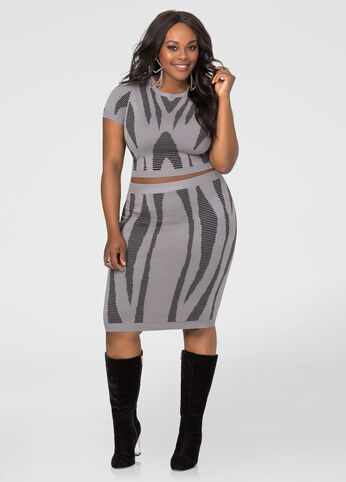 Geo Jacquard Fitted Skirt