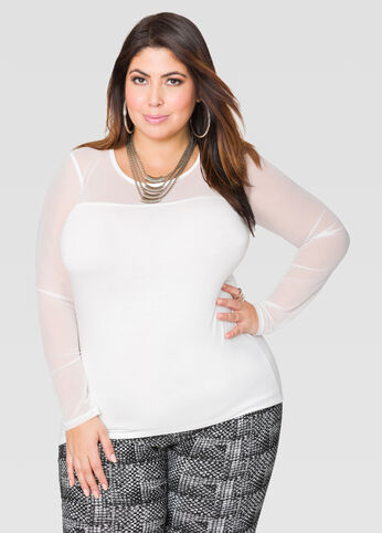 Long Sleeve Mesh Illusion Top