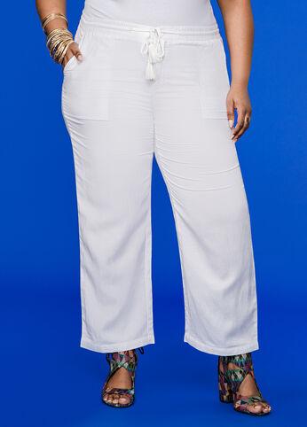 Cropped Wide Leg Linen Pant