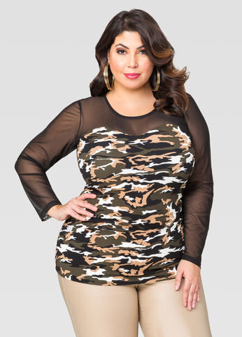 Mesh Sweetheart Camo Top