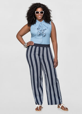 Indigo Stripe Linen Pants