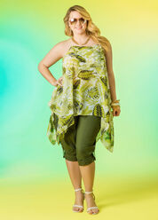 Palm Print Swing Sharkbite Tank with Drawstring Leg Capris. Top off with Strappy Sandals