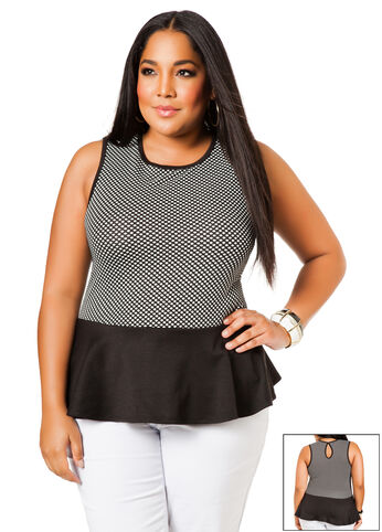 Sleeveless Textured Dot Top