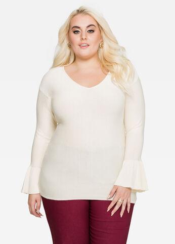 Bell Cuff V-Neck Sweater