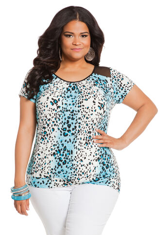 Short Sleeve Animal Print Top with Mesh