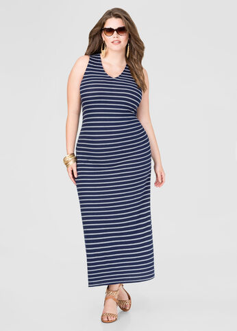 Striped Ribbed Knit Maxi Dress