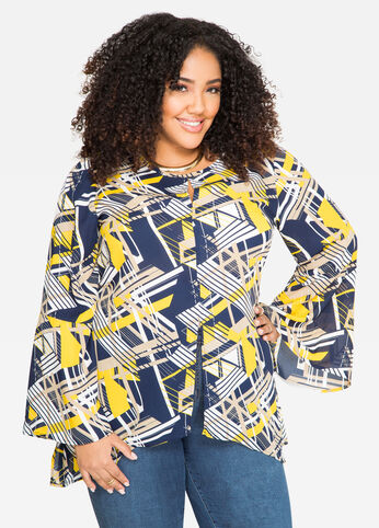 Graphic Slit Front Hi-Lo Tunic