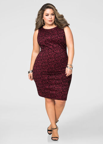 Flocked Velvet Sheath Dress