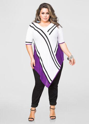 Asymmetrical Colorblock Stripe Tunic Sweater