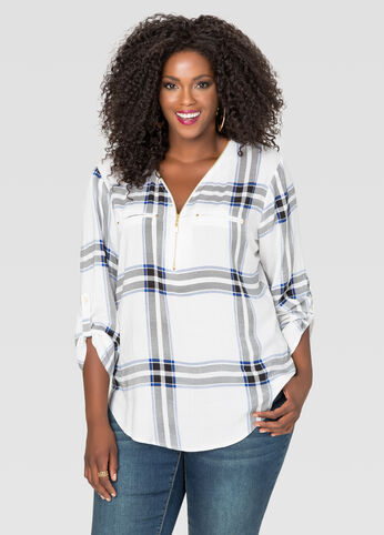 Zip Neck Plaid Shirt