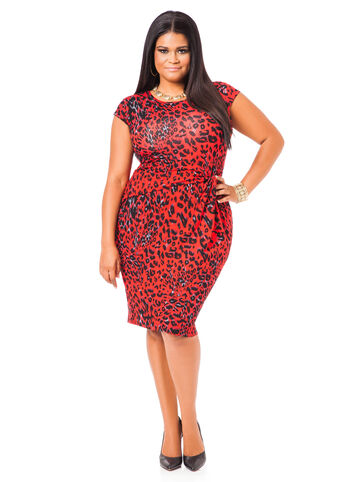 Capsleeve Animal Print Dress
