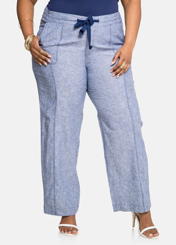 Chambray Drawstring Linen Pants