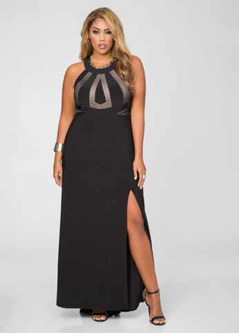 Illusion Bodice Front Slit Evening Dress
