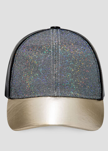 Faux Leather Glitter Baseball Cap