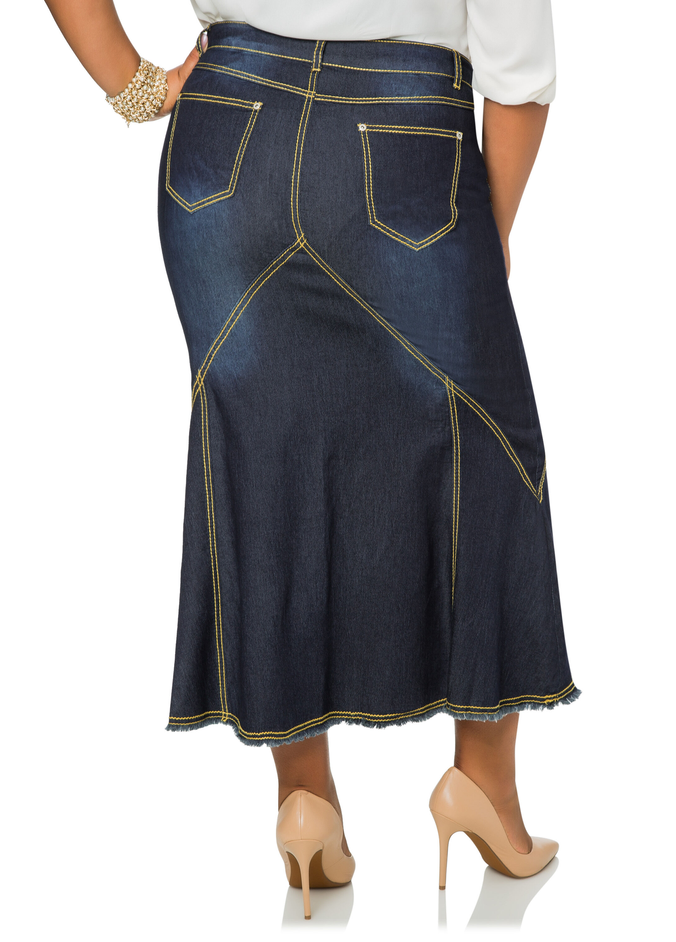 Plus Size Long Jean Skirts IvLQGuV6