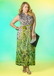 Mixed Print Maxi Shirt Dress with Metallic Sandals  - plus size outfits