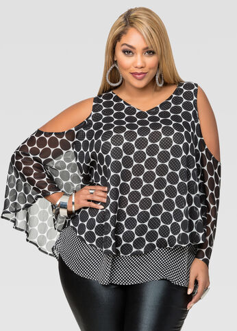 Split Back Polka Dot Blouse