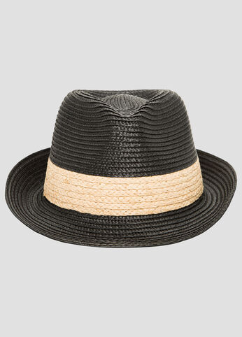 Two Tone Straw Fedora Hat