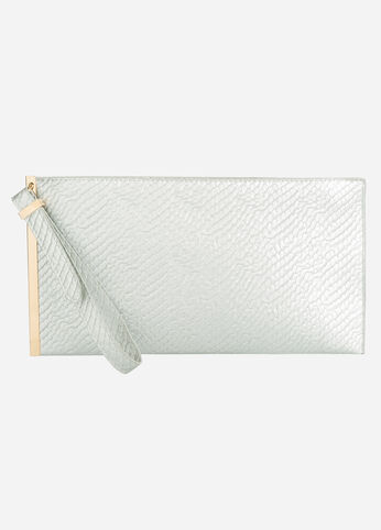 Snake Embossed Metal Bar Clutch