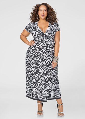 Plus Size Printed Wrap Maxi Dress in Black/White - Front