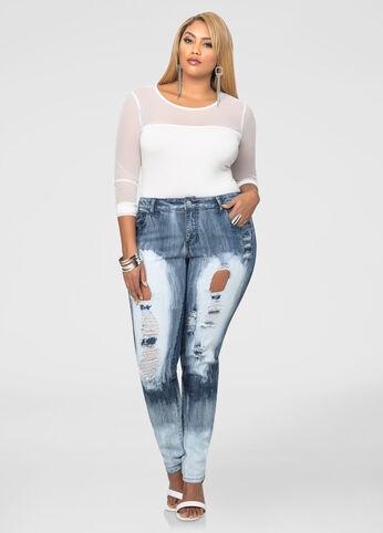 Bleached Destructed Skinny Jeans