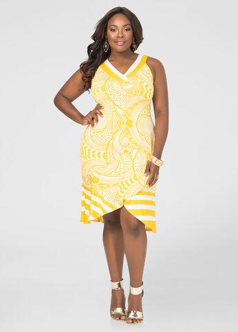 Flounce Hem Mixed Print Dress