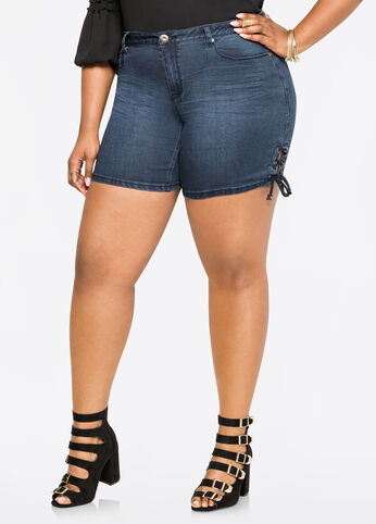 Lace-Up Size Denim Short