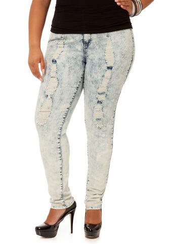Acid Wash Destructed Skinny Jeans