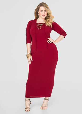 Plus Size Lace-Up Maxi Dress in Red - Front