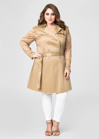 Sateen Shadow Stripe Trench Coat