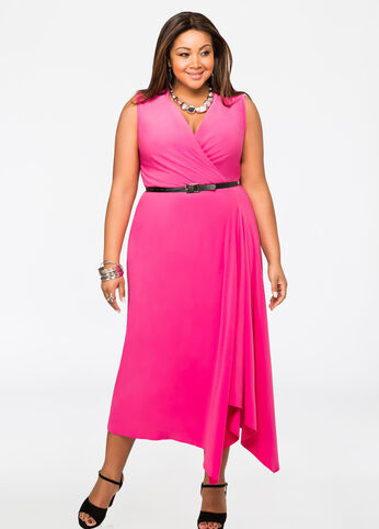 Belted Sleeveless Surplice Maxi Dress