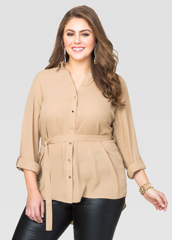 Belted Roll Sleeve Tunic