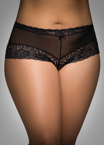 Mesh And Floral Lace Boyshort Panty