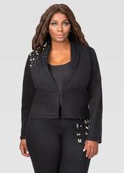 Pearl Trim Jean Blazer Jacket