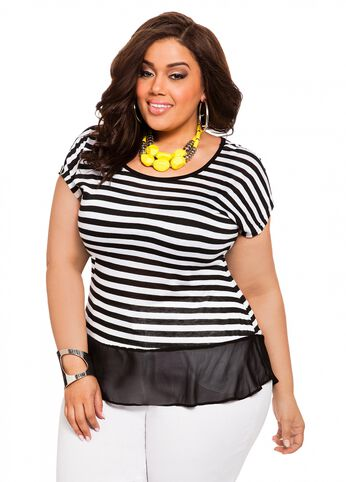 Striped Chiffon Accent Top