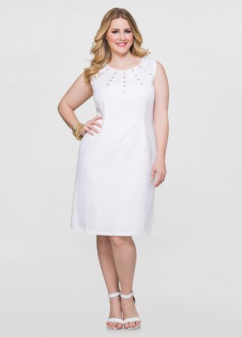 Grommet Sheath Linen Dress