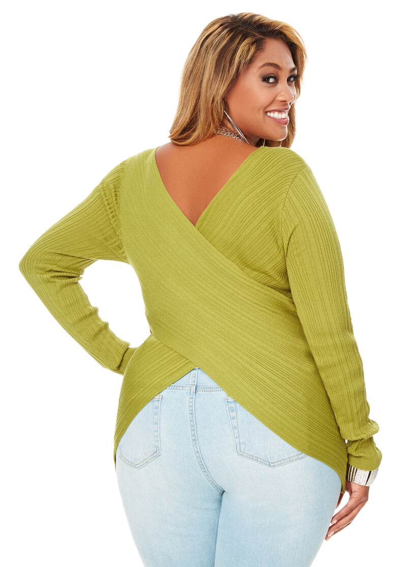 Reversible Criss Cross Sweater-Plus Size Pullover Sweaters ...