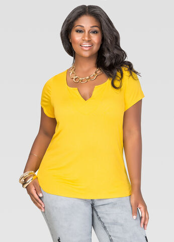 Plus Size Notched Scoop Neck Tee