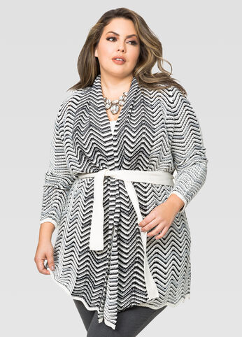 Belted Metallic Chevron Cardigan