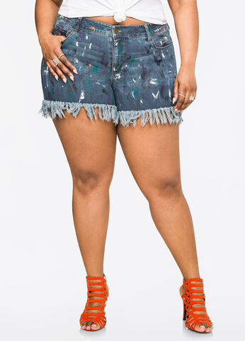 Splatter Paint Fringe Shorts