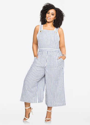 Striped Linen Gaucho Jumpsuit