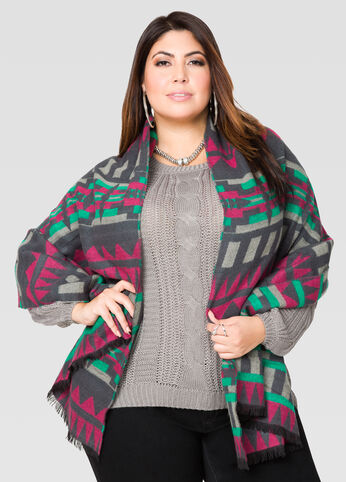Aztec Print Blanket Scarf